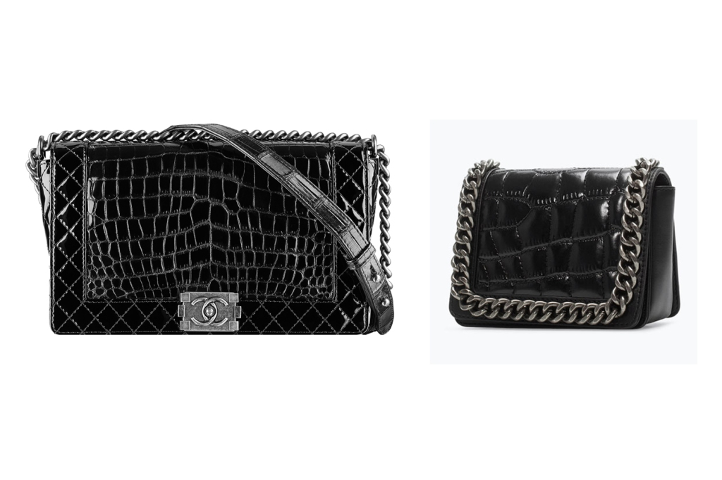 Chanel Le Boy in patent alligator skin on the left and Zara croc mini chain bag on the right