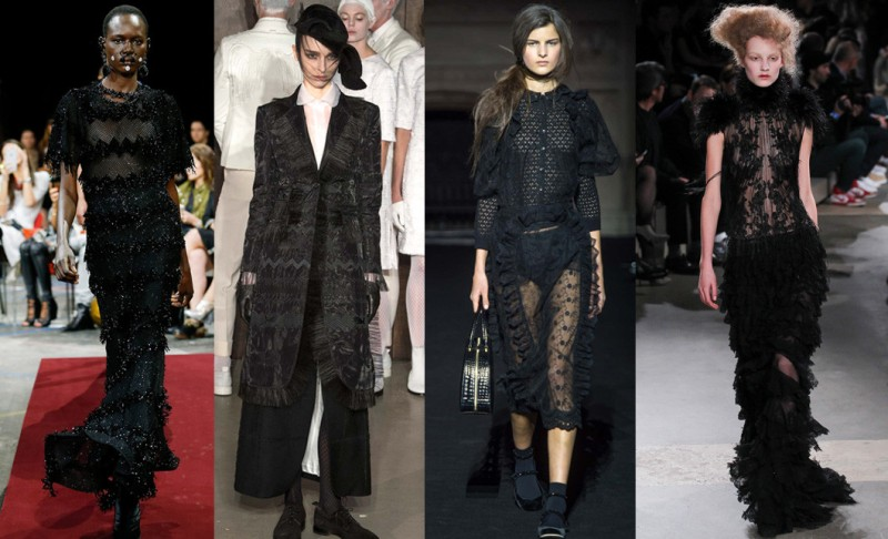 Left to right: Givenchy, Thom Browne, Simone Rocha and Alexander McQueen