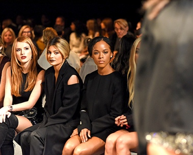 Bella Thorne and Kylie Jener sitting front row at Vera Wang.