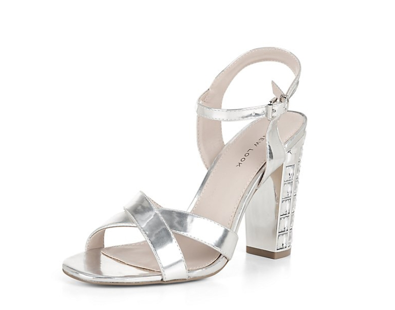 New Look silver embellished ankle strap block heels, £29.99